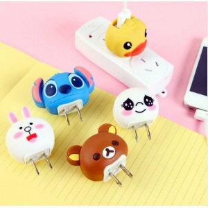 美麗大街【BFM15E3E11】可愛創意卡通動物充電器USB電源轉換插頭