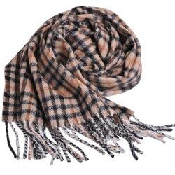 DAKS 經典格紋義大利製羊毛圍巾(卡其格)