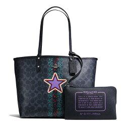 (Smile) COACH 新款時尚女士印刷塗層帆布雙面包內置小包手提包女包 F59526