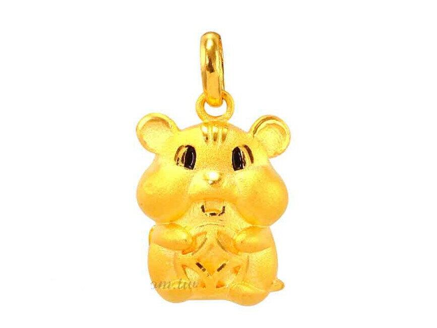 招財黃金鼠墜飾 鼠你好財運 9999純黃金墜子 贈價值$700鋼鍍金鍊 晶漾金飾鑽石JingYang Jewelry