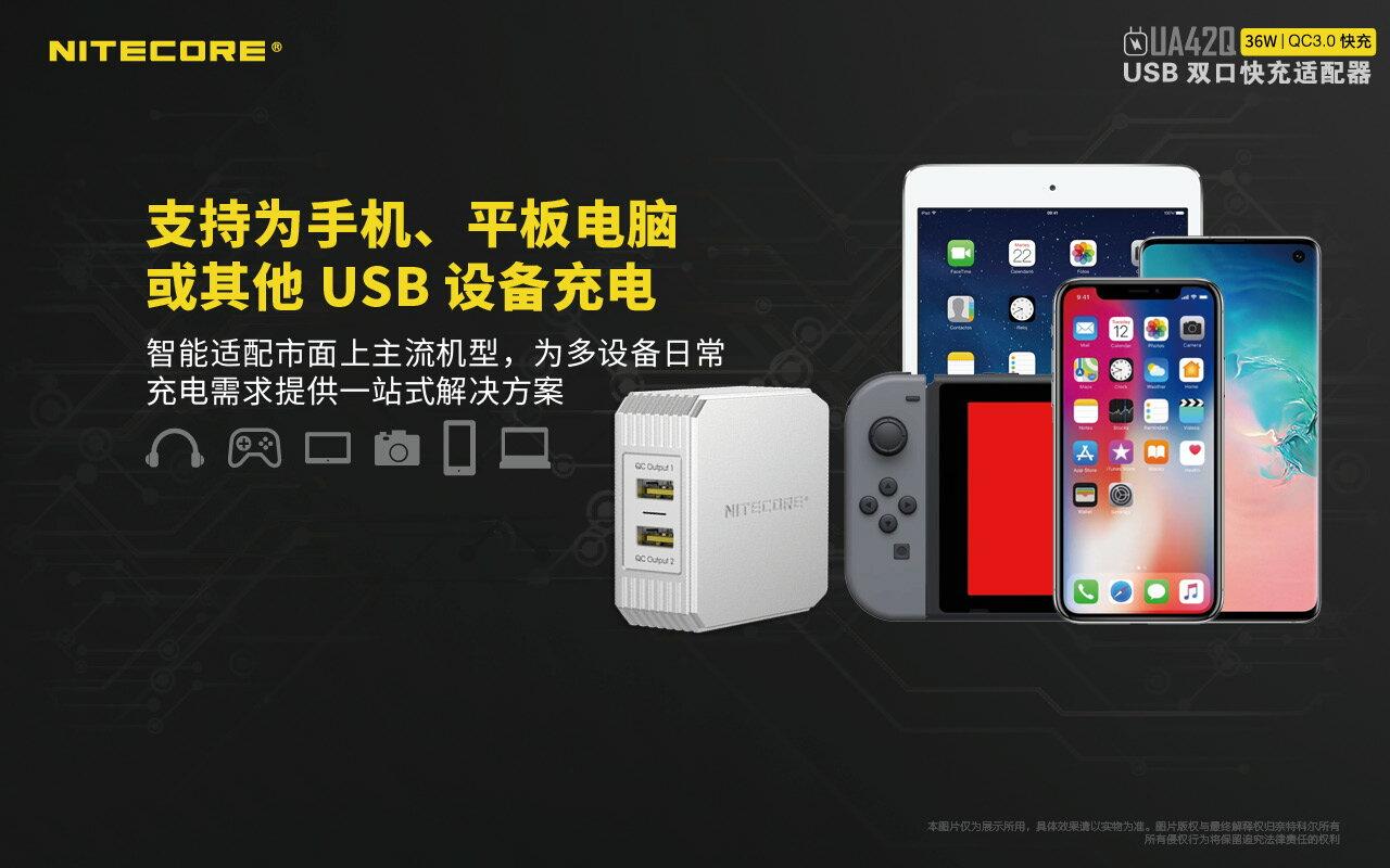 Nitecore UA42Q QC3.0快充 2 port USB 快速充電器 公司貨 最大36W USB電源供應器 4