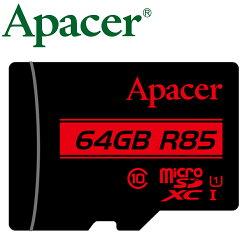 Apacer 宇瞻 64GB 85MB/s microSD microSDXC TF U1 C10 記憶卡