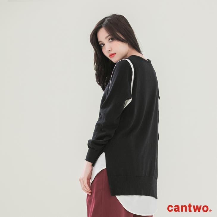 cantwo雪紡拼接假兩件針織上衣(共三色) 3