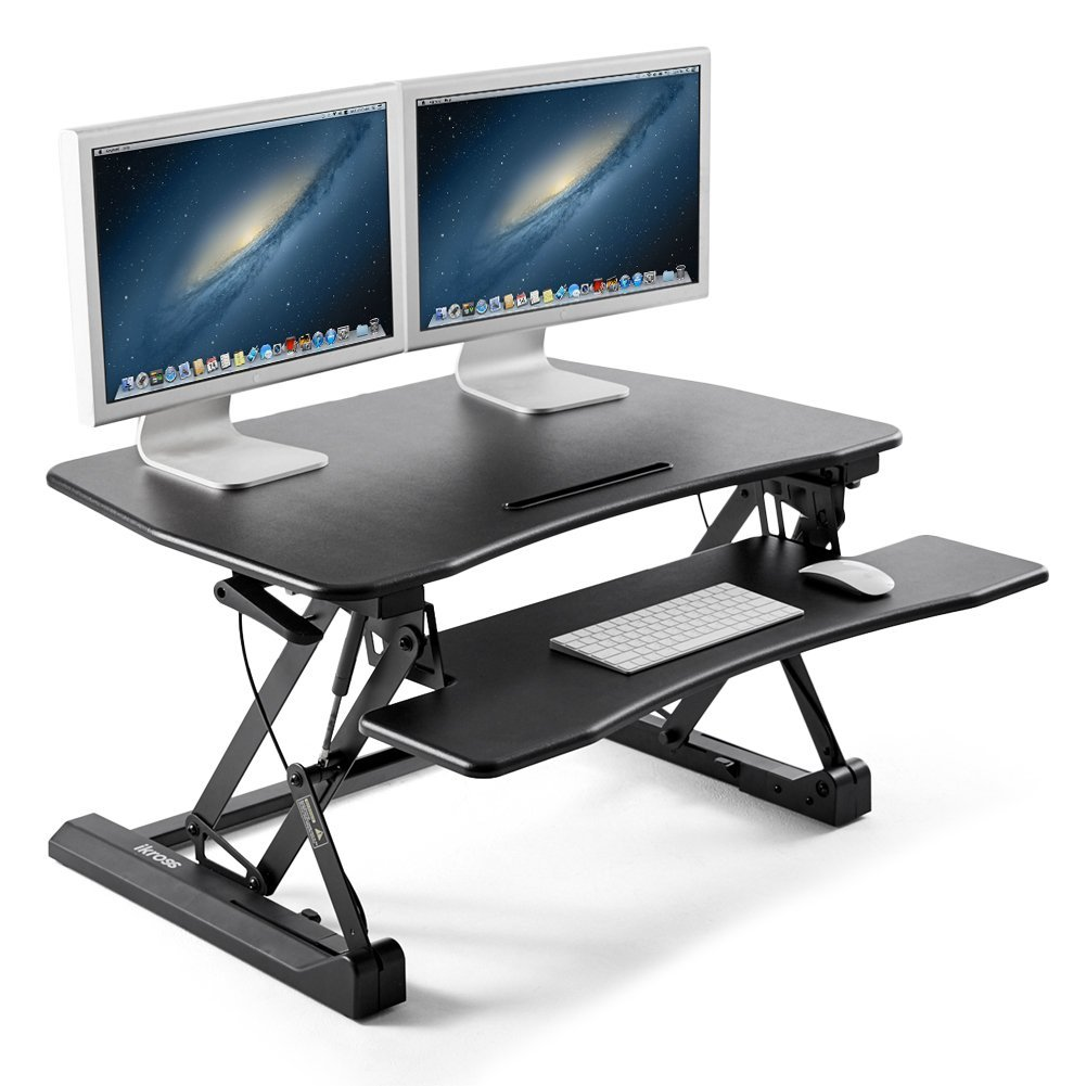 35 wide standing desk ikross height adjustable sit to stand up computer desk riser