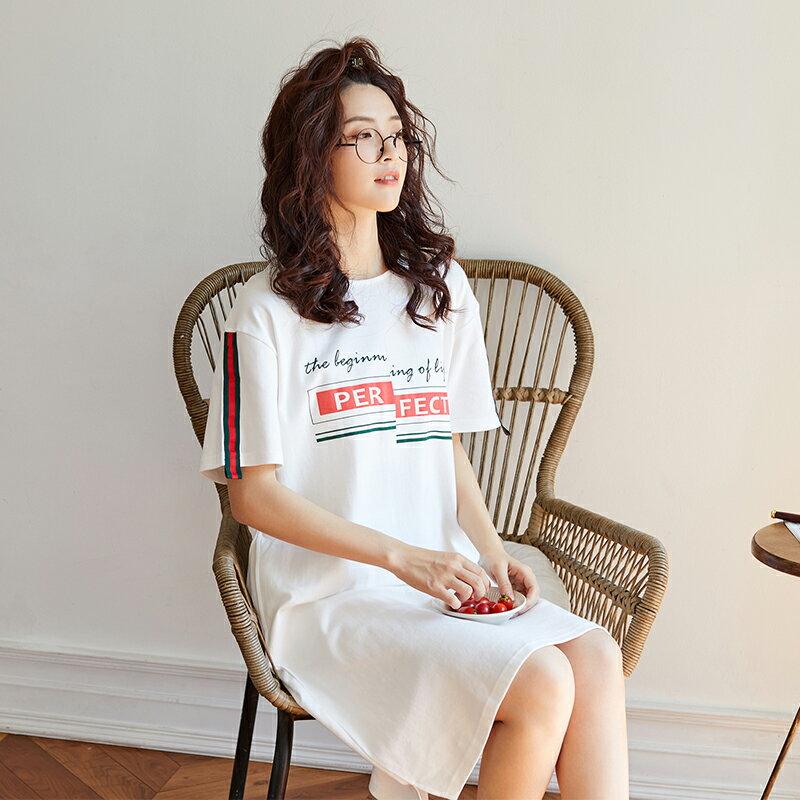 白色甜美短袖中長裙居家服- 純棉睡裙可外穿 M-XL【漫時光】(G073)  ▶99購物節 優惠碼:2009CP50 2