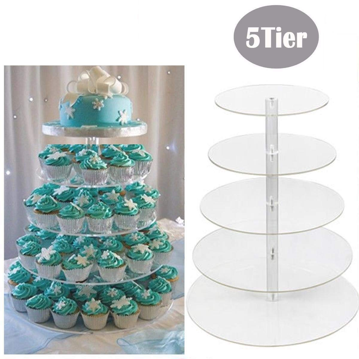 5 Tier Cupcake Stand, Crystal Clear Acrylic Cupcake Display Stand Round Tower Cupcake Dessert Display Stand (US Stock) (5 Tier) 5
