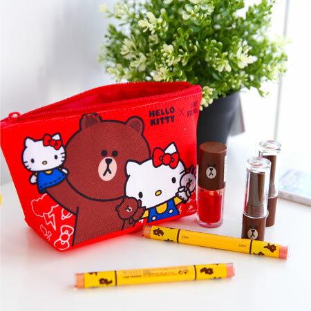 正版 Kitty x LINE 聯名帆布船型筆袋 收納袋 收納包 化妝包 收納包 萬用包 熊大 凱蒂貓 Kitty【B062584】