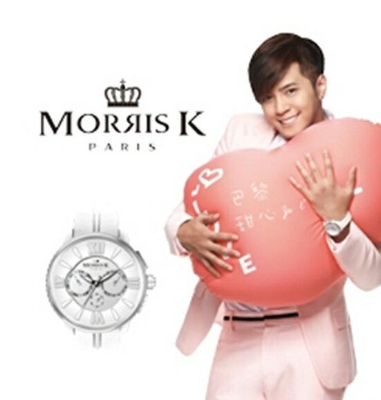 【Morris K】羅志祥代言 限量三眼多功能白色男女腕錶 MK10191-DA04