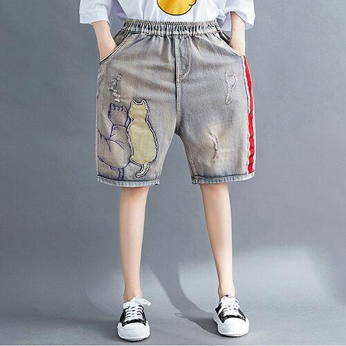 貼布繡花寬鬆五分牛仔褲(圖片色M~3XL) 【OREAD】 - 限時優惠好康折扣