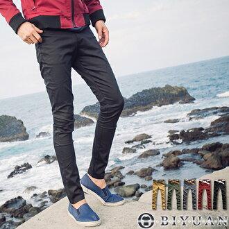 工作褲【ST1368】OBI YUAN韓國彈力布料剪裁款大麻葉皮標窄版休閒褲共5色