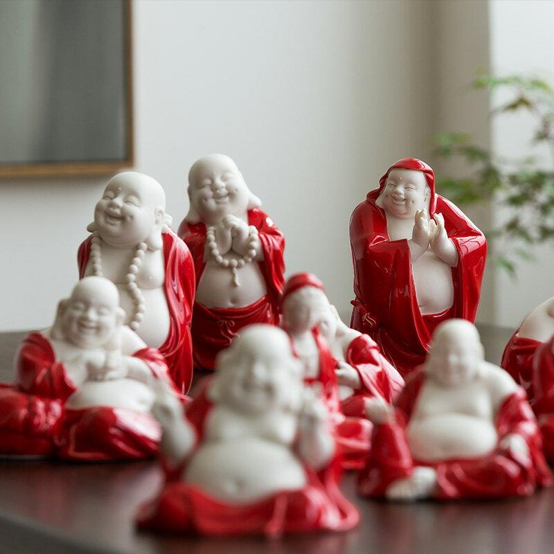 中式彌勒佛車載博古架擺件客廳家居招財禪意裝飾工藝品大肚笑佛像