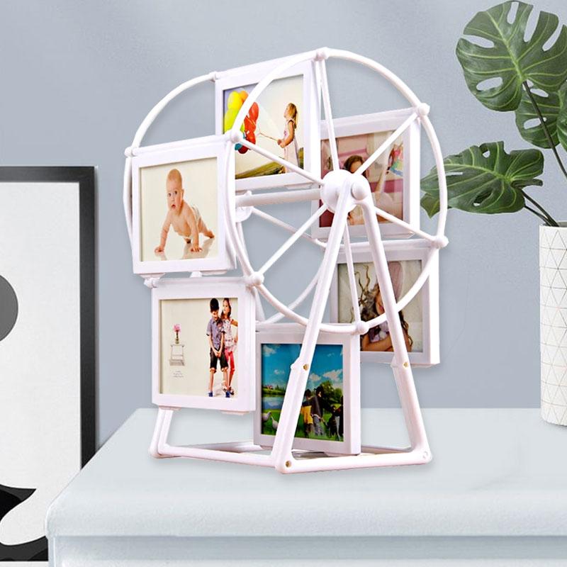 旋轉相冊 風車擺件摩天輪旋轉創意寸相框桌面擺台相架訂做相冊帶洗照片5寸bw712