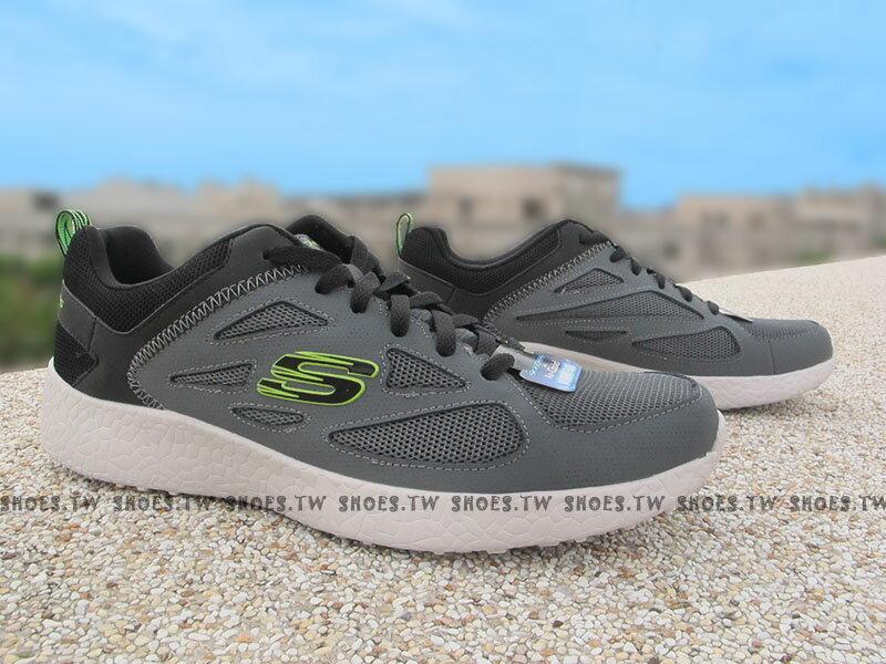 《超值1790》Shoestw【52104CCLM】SKECHERS 健走鞋 BURST 記憶鞋墊 深灰螢光綠 男款