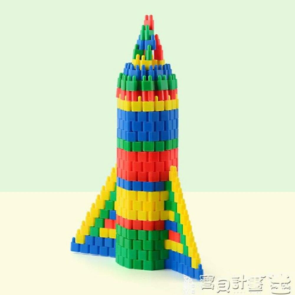 免運 積木拼插 兒童玩具36周歲火箭子彈頭塑料拼插積木拼裝益智57810歲男孩