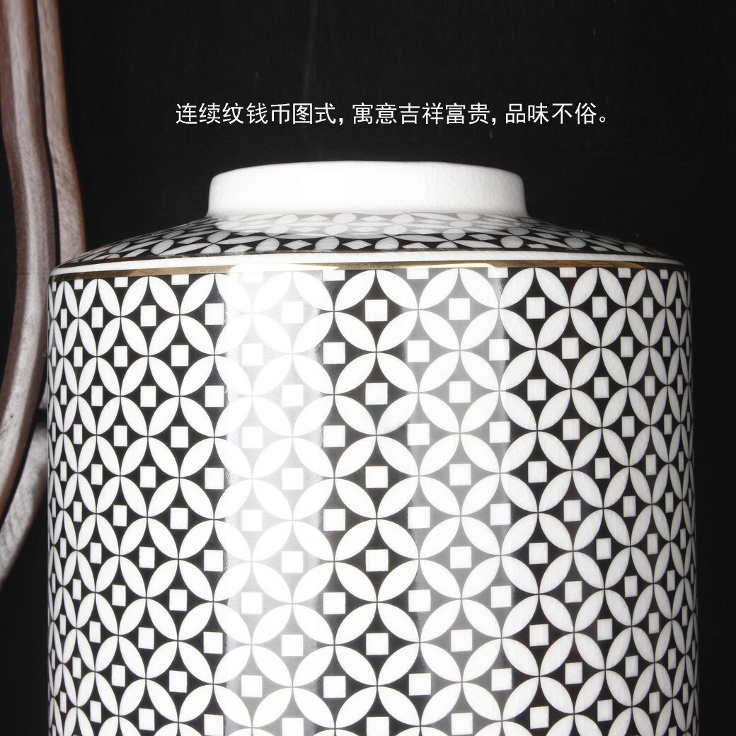 錢幣紋三件套擺件裝飾品罐子帶蓋子花瓶花器樣板房裝飾玄關連續紋