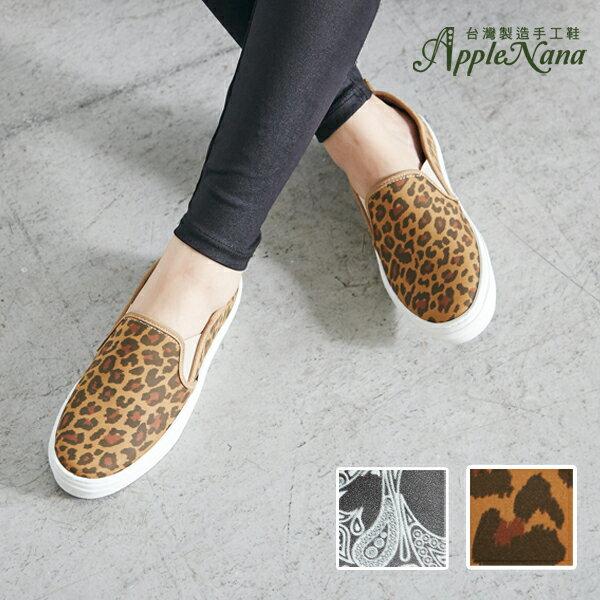AppleNana。真皮印刷技限定發售。氣墊懶人樂福鞋【QT1202N1380】蘋果奈奈 1