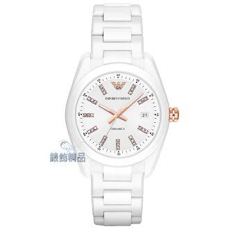 【錶飾精品】ARMANI手錶 亞曼尼 玫金晶鑽時尚 日期 精密陶瓷女錶 AR1495 情人生日禮物 原廠正品