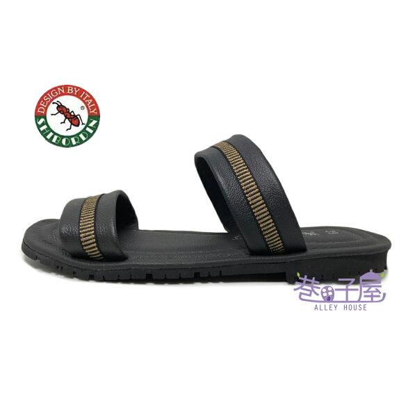 【巷子屋】SHIBORDIN喜伯登紅螞蟻男款牛皮雅痞雙條拖鞋[3400249]黑MIT台灣製造超值價$390
