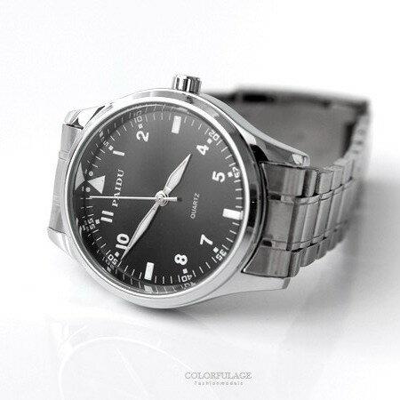手錶 都會  金屬型男 腕錶 按動式摺疊錶扣 多色可挑選 柒彩年代~NE1837~單支售價