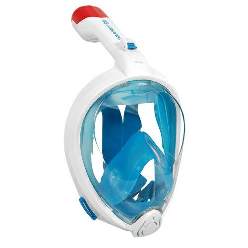 【【蘋果戶外】】AROPECSM-BD02L藍浮潛全罩式呼吸管面罩附相機支架及防水耳塞亞洛沛