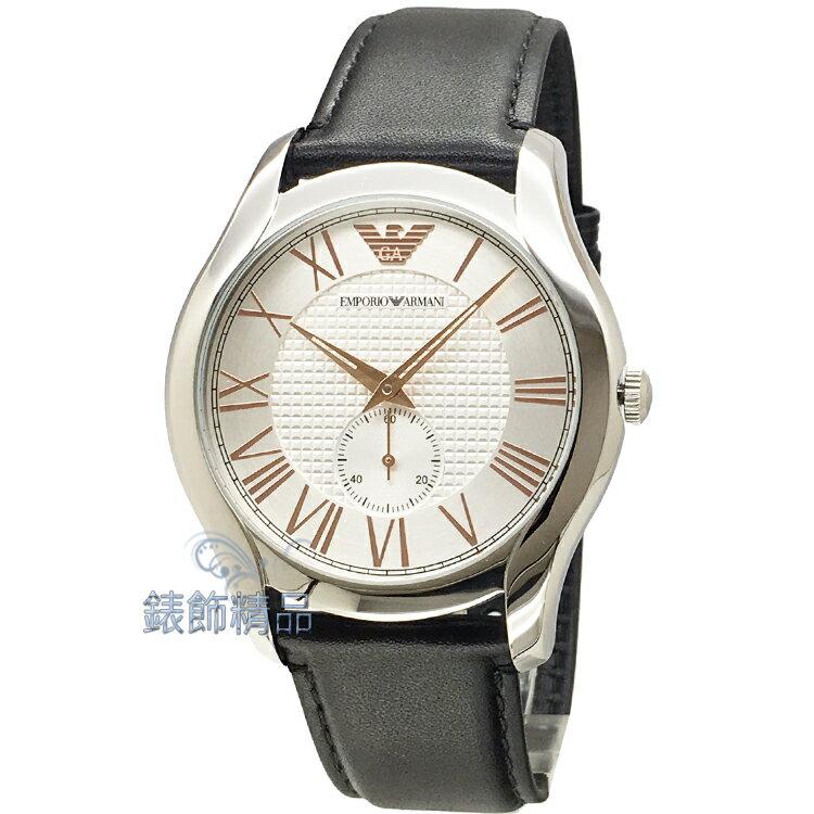 【錶飾精品】ARMANI錶 亞曼尼表 經典時尚 AR1984 小秒玫金色羅馬時標 黑皮帶男錶 全新原廠正品 情人生日禮物