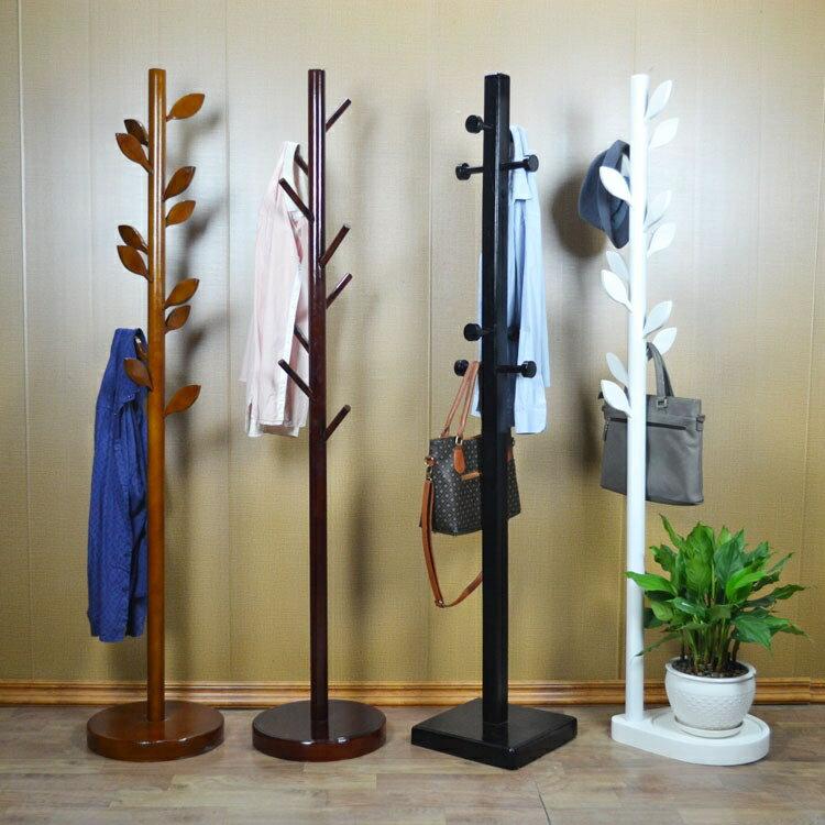 新中式實木衣帽架客廳臥室玄關落地掛衣架創意藝術衣服架衣掛架