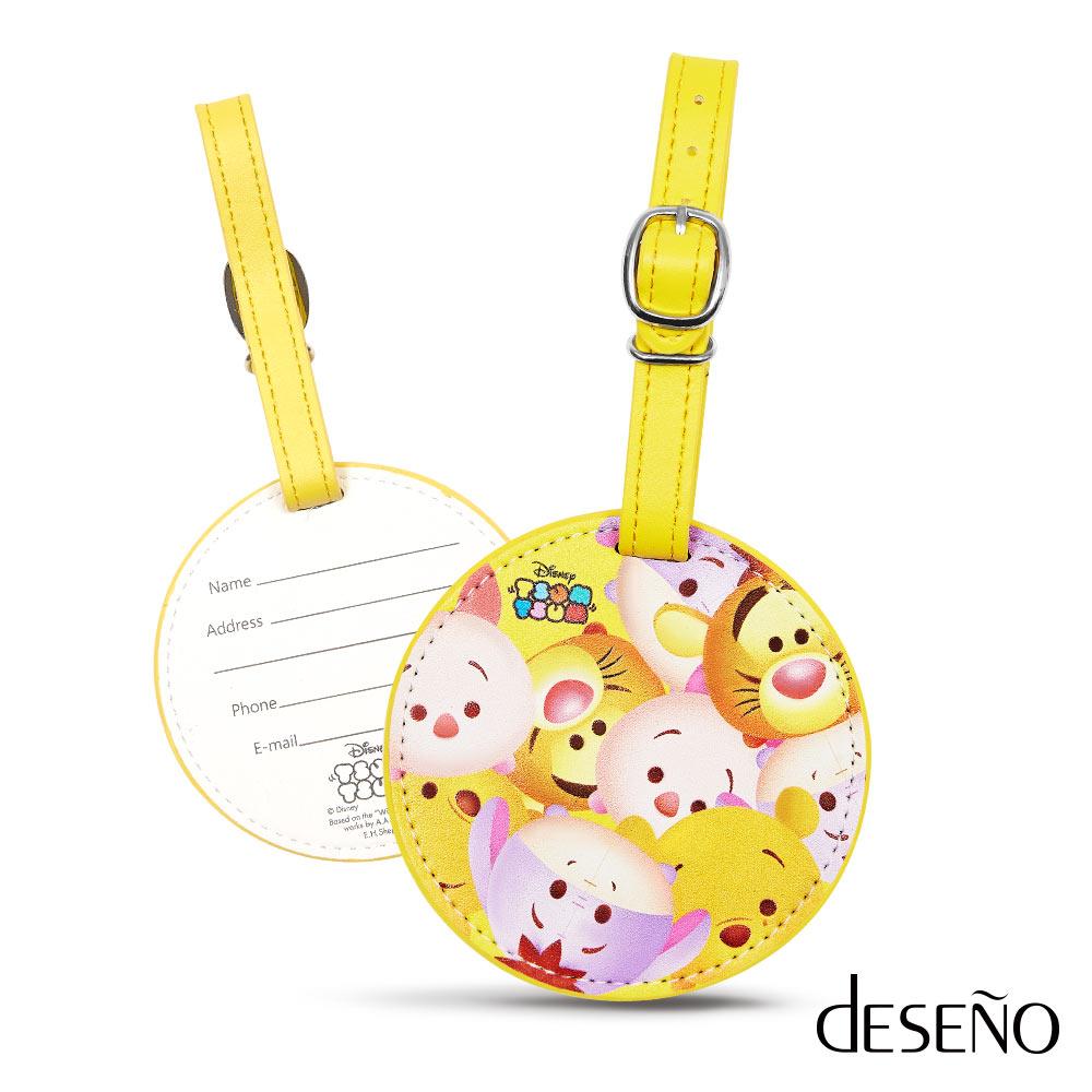 【加賀皮件】DESENO Disney 迪士尼 TSUMTSUM 皮革 可愛 行李箱吊牌 行李吊牌 維尼 B1135-0012