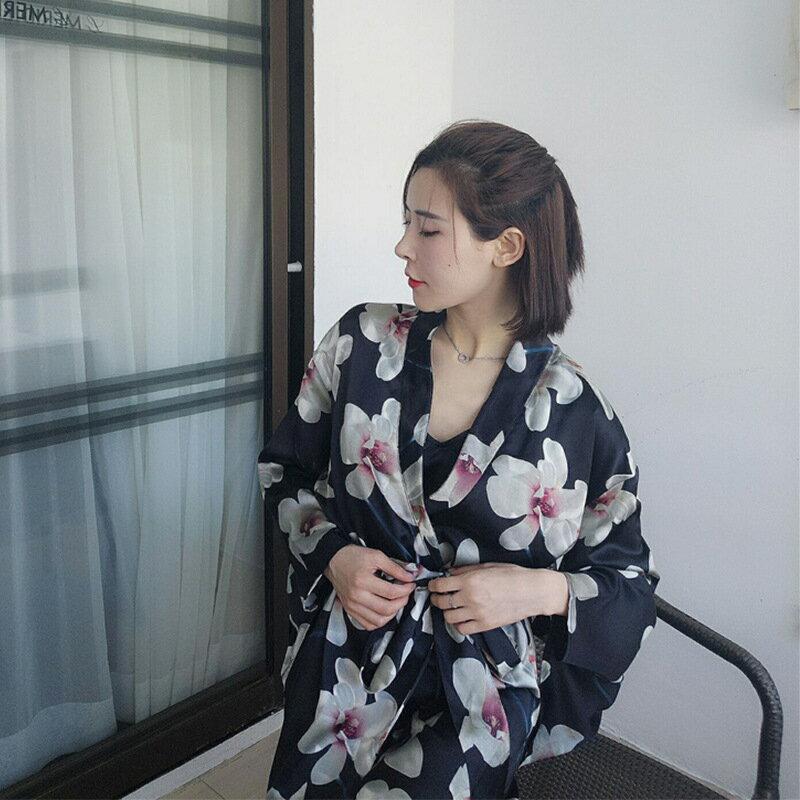 吊帶睡裙絲綢甜美性感絲質睡衣女日式和服玉蘭花改良復古睡袍外穿1入
