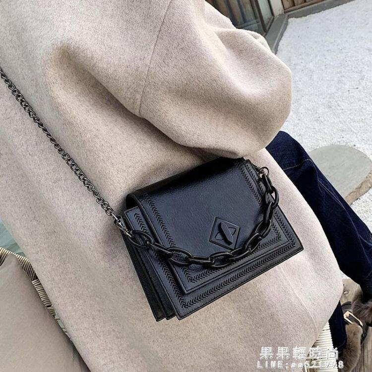 小包包女包2020新款潮韓版時尚鏈條鎖扣單肩包復古手提斜挎小方包【新品】