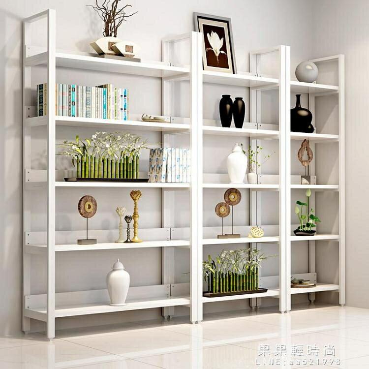 展示架/臺 現代簡約鋼木書架置物架多層落地書櫃組合收納架儲物櫃展示架家用 NMS
