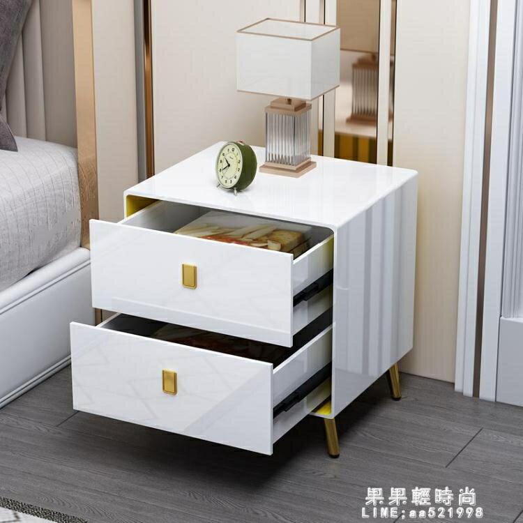 床頭櫃簡約現代臥室北歐ins風輕奢床邊小櫃子白色簡易儲物40cm寬 NMS