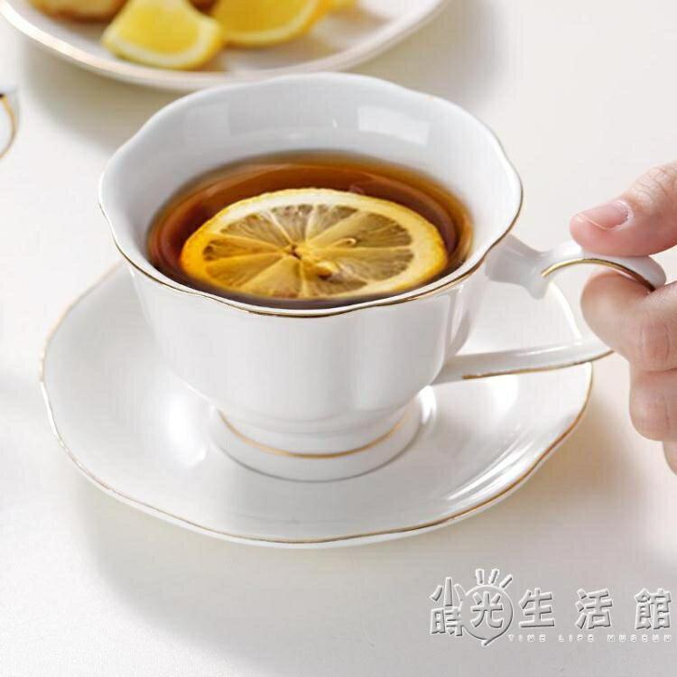金邊咖啡杯碟套裝歐式小奢華單個帶勺子家用下午茶英式茶杯子套具