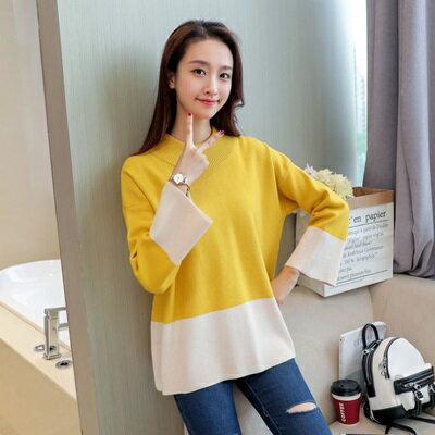 針織毛衣半高領打底衫-時尚拼色寬鬆休閒女罩衫3色73tp38【獨家進口】【米蘭精品】
