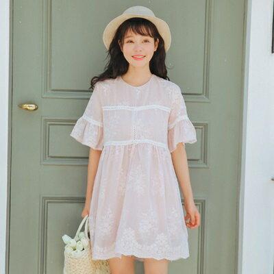 連身裙刺繡上衣-夏季時尚甜美寬鬆女連衣裙2色73rx19【獨家進口】【米蘭精品】
