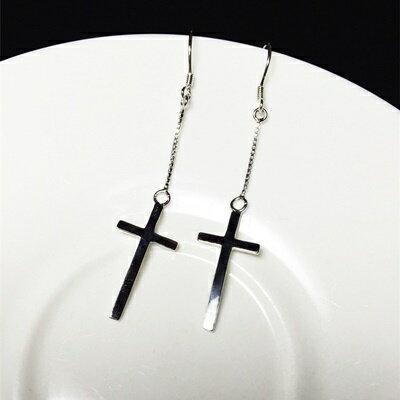 ~925純銀耳環耳飾~ 潮流十字架 生日情人節 女飾品73ia38~ ~~米蘭 ~