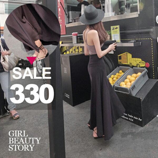 SISI【P8009】隨性休閒百搭莫代爾棉垂墜感傘狀裙襬純色A字半身長裙