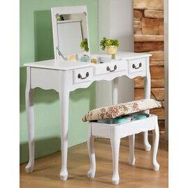 《C&B》加寬型英倫風掀鏡兩用化妝書桌椅組
