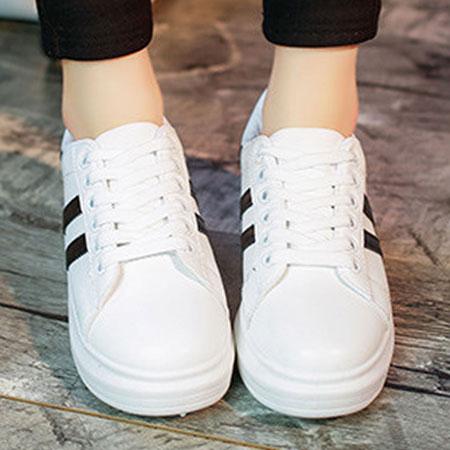 休閒鞋 潮流線條百搭厚底小白鞋【S1571】☆雙兒網☆ 3