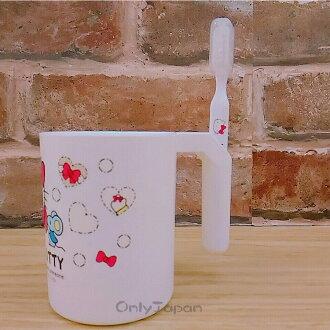 【真愛日本】18011200002 牙刷杯組-KT愛心紅結白 三麗鷗 KITTY 凱蒂貓 日用品 牙刷 個人清潔用品 漱口杯