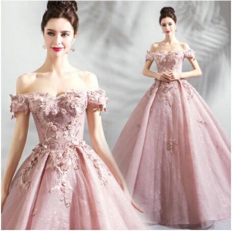 天使嫁衣【AE8818】藕粉色一字領立體花片齊地彩紗禮服˙預購訂製款
