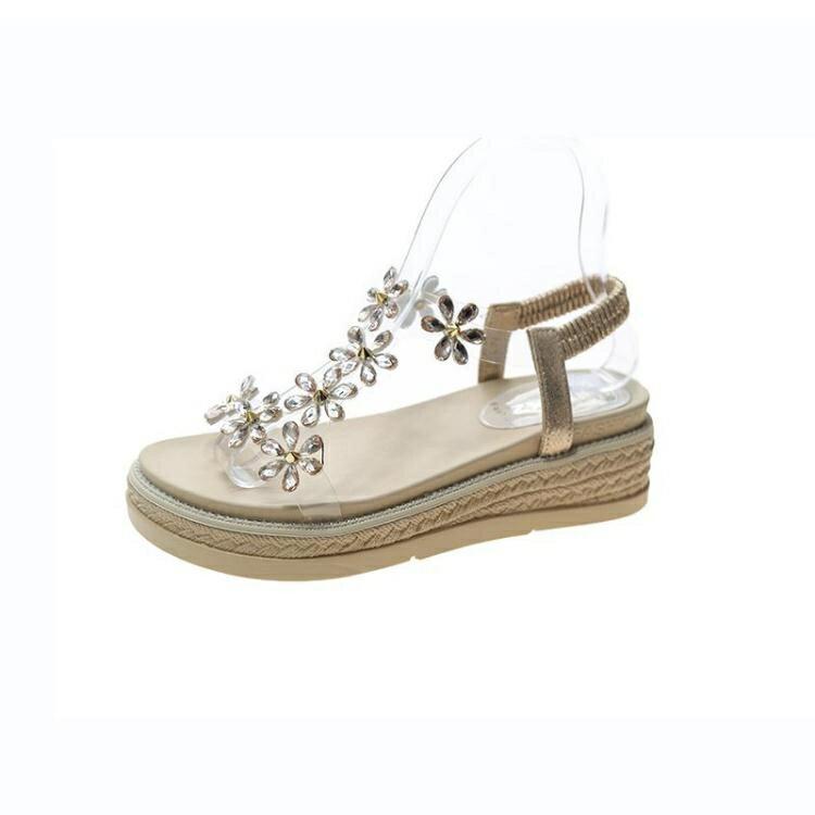 涼鞋女夏2021年新款百搭仙女風坡跟一字羅馬高跟鞋ins潮厚底鬆糕