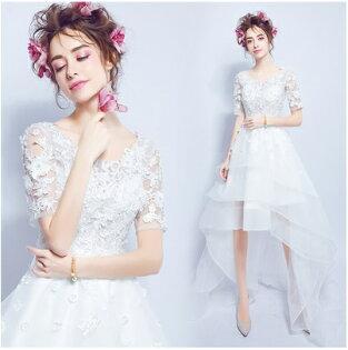 天使嫁衣【AE2367】白色蕾絲中袖前短後長造型禮服˙預購訂製款