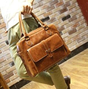 FINDSENSEZ1韓國時尚潮男復古皮質商務公事包旅行包單肩包手提包單肩包側背包斜背包