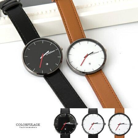 手錶 簡約刻度無秒針大框 皮革手錶 日期窗顯示 風格 柒彩年代~NE1654~單支