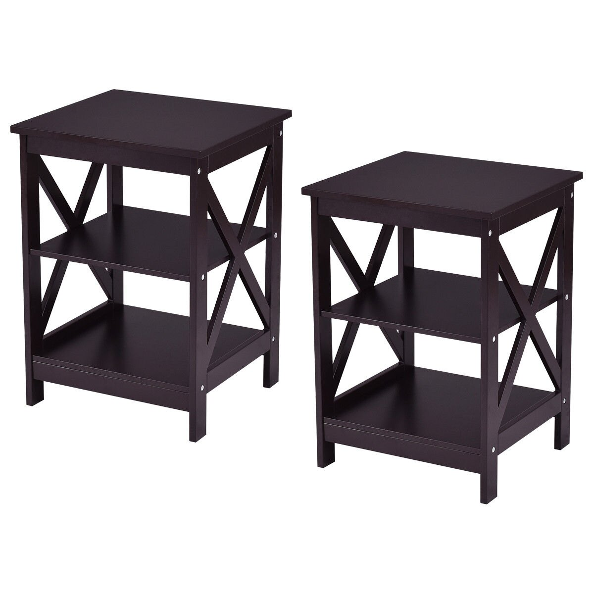 Costway | Rakuten: Costway 2PC 3-Tier Nightstand End Table Storage ...