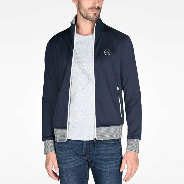 美國百分百【全新真品】Armani Exchange 外套 AX 立領 夾克 亞曼尼 上衣 男 深藍 S號 I432