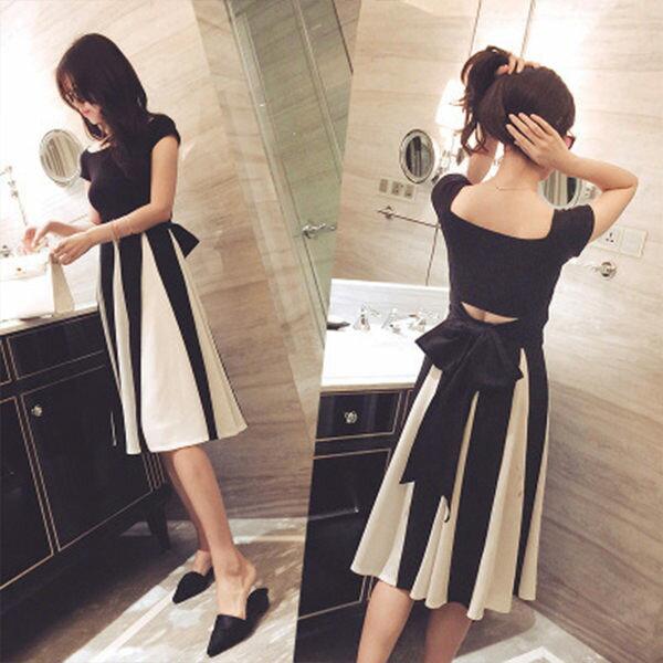 PS Mall  繫帶收腰上衣+撞色條紋長裙兩件式時尚套裝 連身裙 洋裝【T218】 - 限時優惠好康折扣