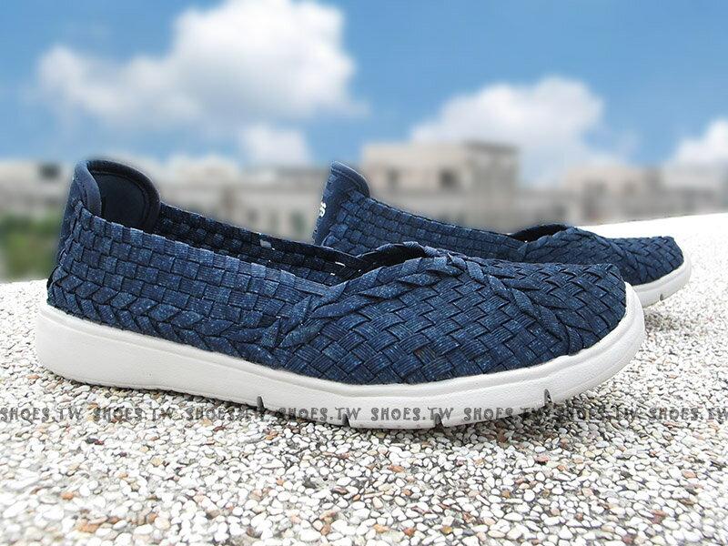 Shoestw【31400DEN】SKECHERS 健走鞋 BOBS 深藍點點 編織 V口 記憶鞋墊 女款