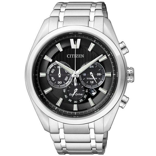CITIZEN星辰CA4011-55E耀眼鈦光動能計時腕錶/黑面43mm