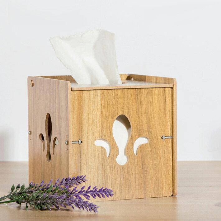 木質簍空組裝面紙盒